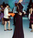 Đầm dạ hội tay dài xẻ đùi phối ren hở lưng Anh Thư- D195