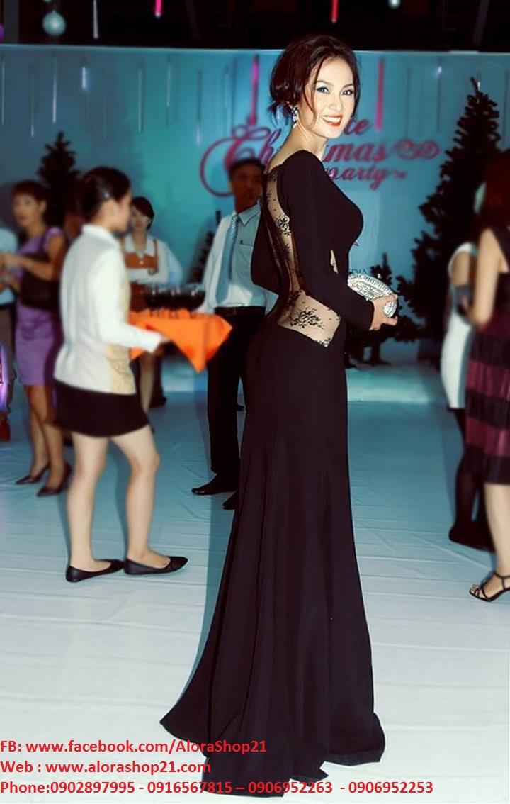 Đầm dạ hội tay dài xẻ đùi phối ren hở lưng Anh Thư