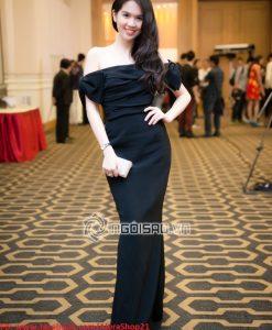 Đầm dự tiệc dài bẹt vai ngang màu đen sang trọng