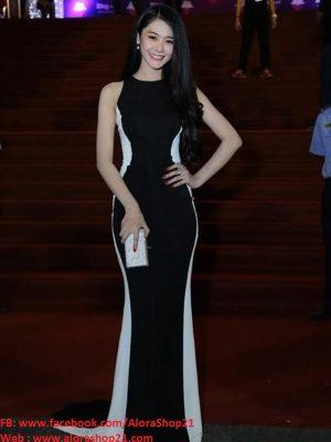 Đầm dạ hội đuôi cá đen phối trắng cách điệu phong cách