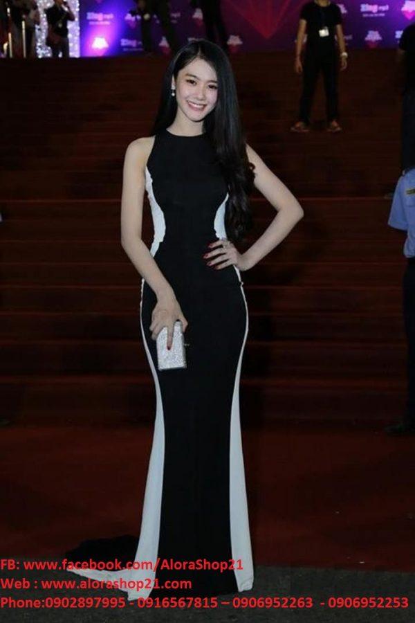 Đầm dạ hội đuôi cá đen phối trắng cách điệu phong cách – D200