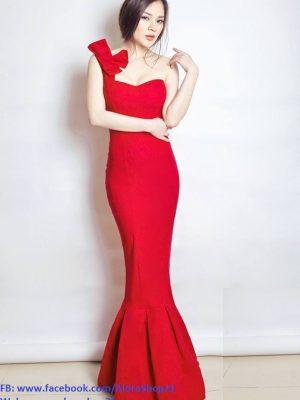Đầm dạ hội đuôi cá lệch vai nơ quyến rũ đẳng cấp
