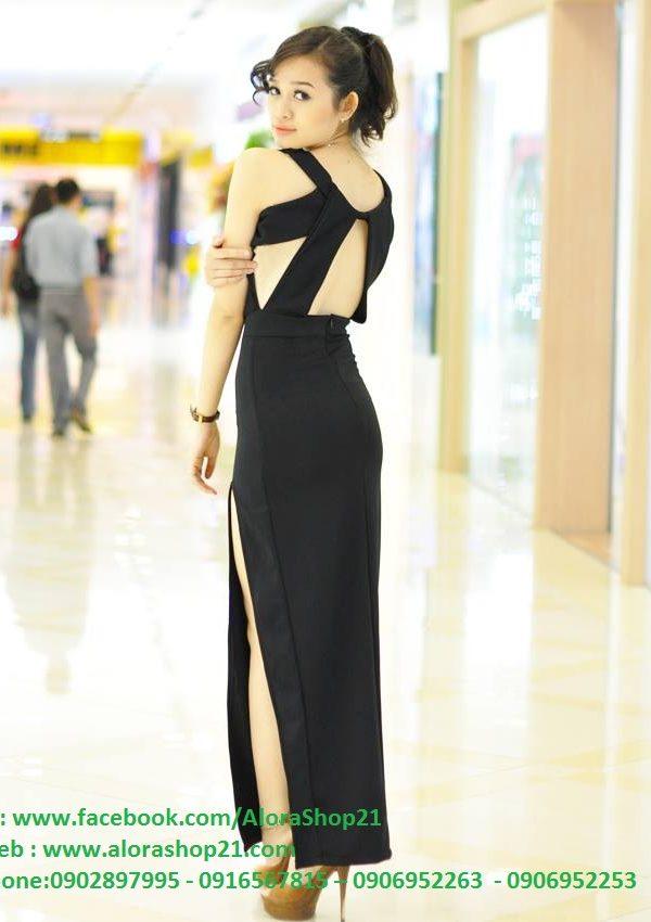 Váy dạ hội dài sang trọng cổ đỗ xẻ đùi quyến rũ