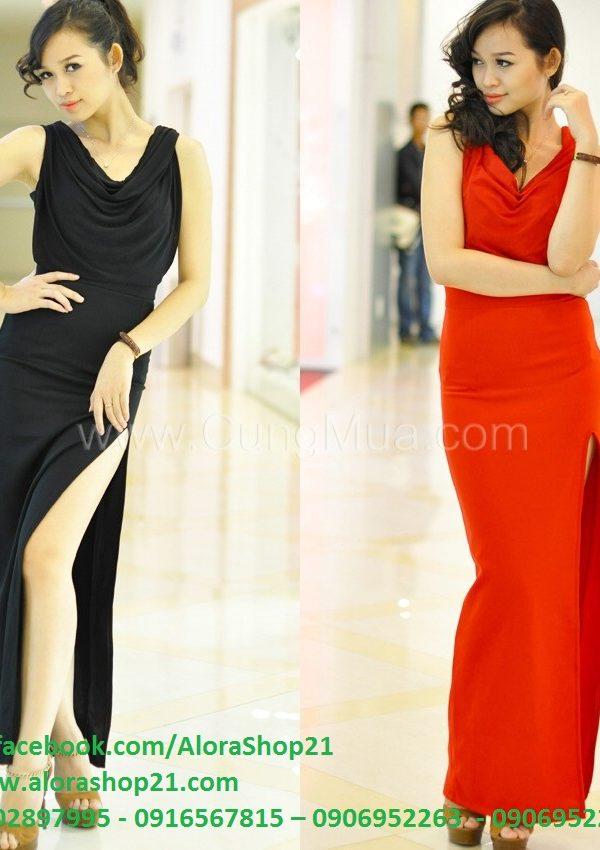 Váy dạ hội dài sang trọng cổ đỗ xẻ đùi quyến rũ – D211