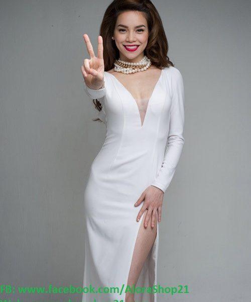Váy dạ hội dự tiệc phối lưới ngực và xẻ đùi sang trọng – D212