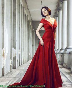 Đầm dạ hội bẹt vai hở V sang trọng quyến rũ