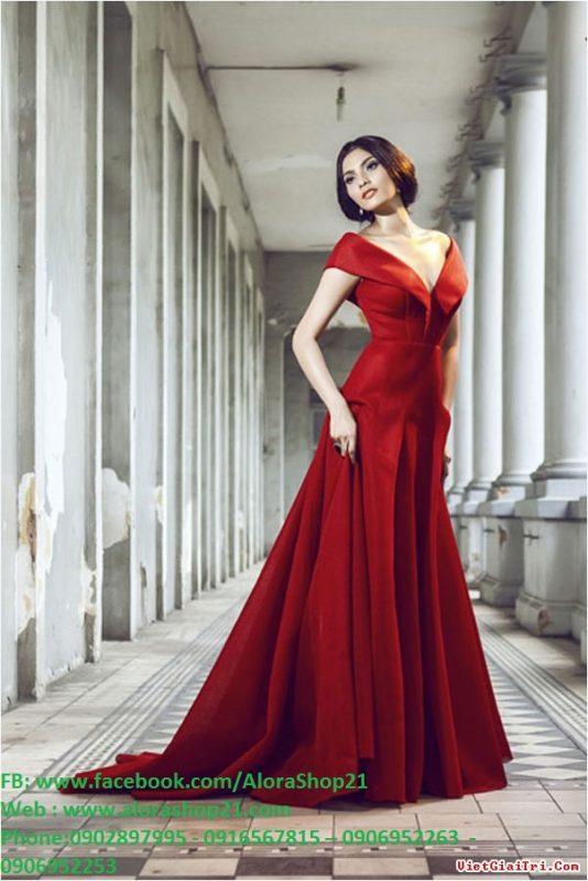 Đầm dạ hội bẹt vai hở V sang trọng quyến rũ - D216
