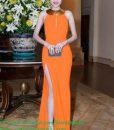 Đầm dạ hội sát nách kiểu cổ yếm và xẻ đùi quyến rũ – D218