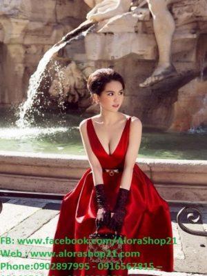 Đầm xòe 2 dây hở lưng V dễ thương như Ngọc Trinh