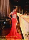 Đầm dạ hội phối ren nude tay dài sexy quyến rũ – D222