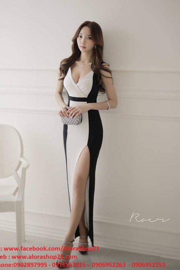 Váy dạ hội phối trắng đen xẻ đùi thiết kế sang trọng – D224