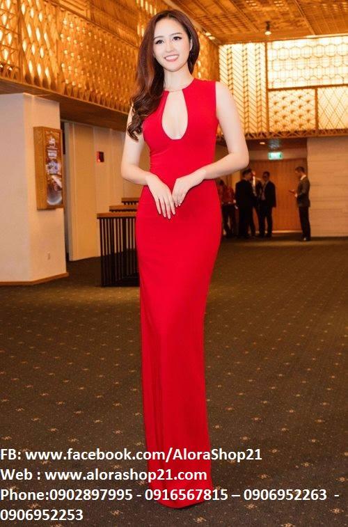 Đầm dạ hội màu đỏ thiết kế hở ngực sang trọng và nổi bật – D225