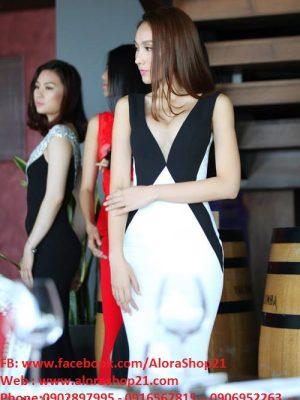 Váy dạ hội trắng phối đen độc đáo sang trọng