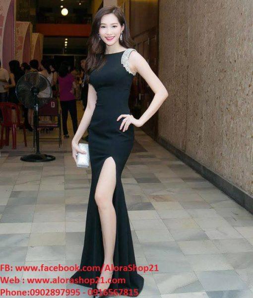 Đầm maxi dự tiệc màu đen sang trọng thiết kế xẻ đùi quyến rũ – D227