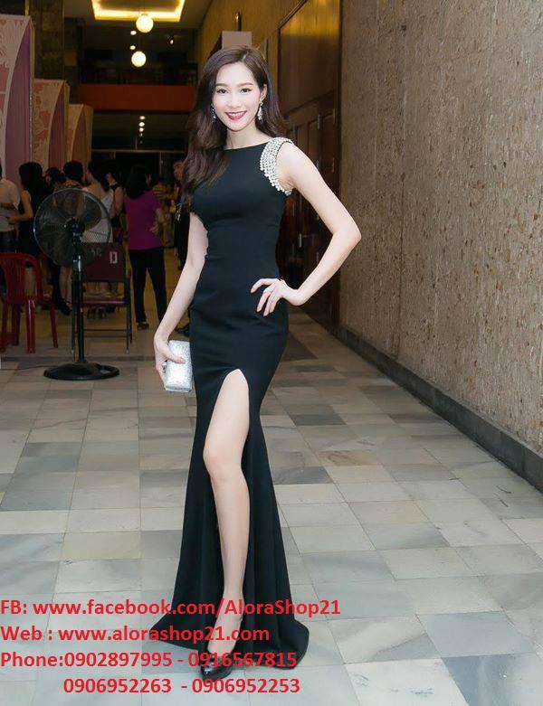 Đầm maxi dự tiệc màu đen sang trọng thiết kế xẻ đùi quyến rũ