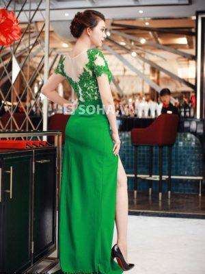 Váy dạ hội phối ren xẻ đùi tôn dáng