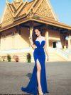 Đầm dạ hội xanh coban phối trắng xẻ đùi tôn dáng – D230