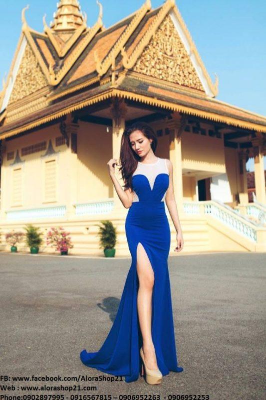 Đầm dạ hội xanh coban phối trắng xẻ đùi tôn dáng