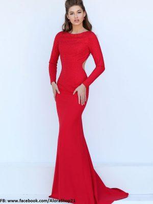 Đầm dạ hội tay dài hở lưng sexy quyến rũ