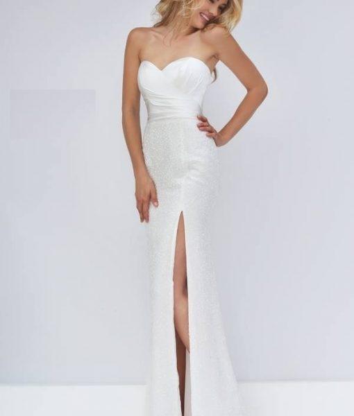 Đầm dạ hội ren kim tuyến cúp ngực xẻ đùi tôn dáng