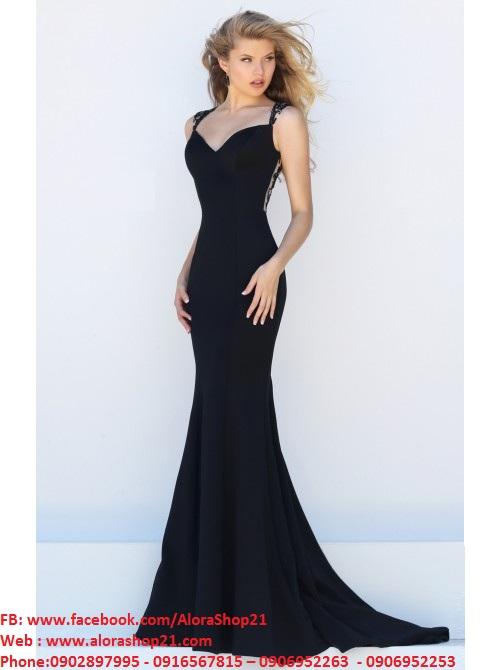 Váy dạ hội hở lưng phối ren sexy quyến rũ – D236