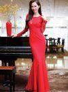 Đầm dạ hội tay dài phối ren sang trọng quý phái