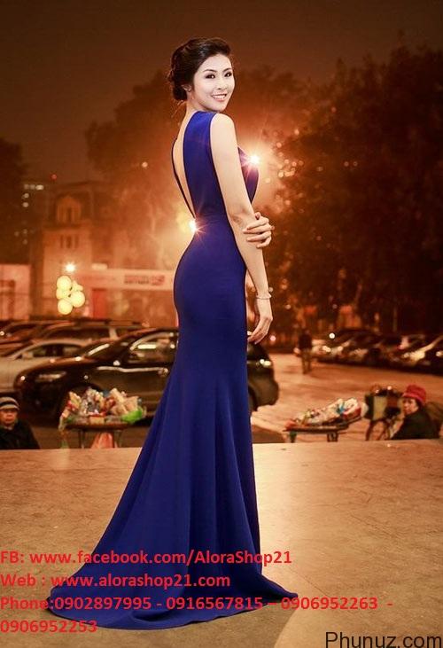 Váy dạ hội xanh coban cổ yếm hở lưng xinh xắn dễ thương