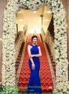 Váy dạ hội xanh coban cổ yếm hở lưng xinh xắn dễ thương – D241
