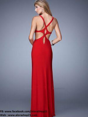 Đầm dạ hội 2 dây hở lưng cách điệu độc đáo