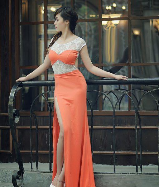 Váy dạ hội cam phối ren xẻ đùi cao tôn dáng – D251