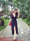 Đầm dài tà xẻ thắt eo màu đen sang trọng