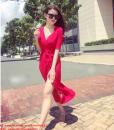 Đầm dài tà xẻ thắt eo màu đen sang trọng – D252
