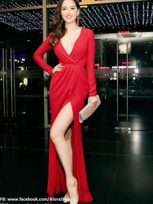 Đầm dài dạ hội đẹp thiết kế tay dài xẻ ngực