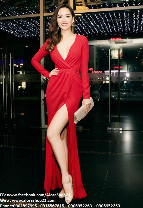Đầm dài dạ hội đẹp thiết kế tay dài xẻ ngực – D253