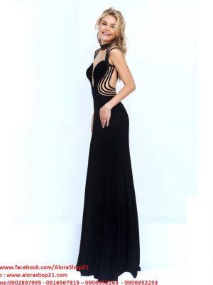 Váy dạ hội đen đan dây hở lưng quyến rũ - D255