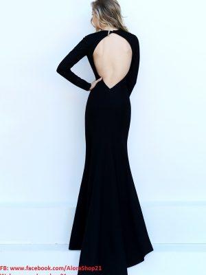Váy dài dự tiệc tay dài xẻ đùi sang trọng quyến rũ - D256