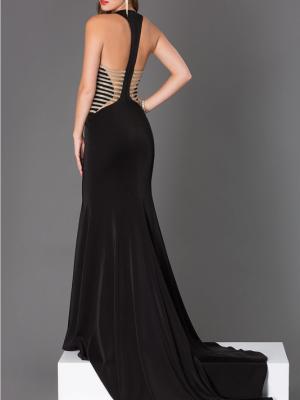 Váy dài dự tiệc đan dây hở lưng sang trọng hiện đại - D259