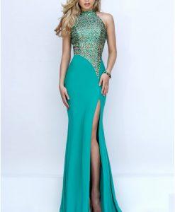 Váy dài xẻ đùi đính kim sa hiện đại quyến rũ - D262