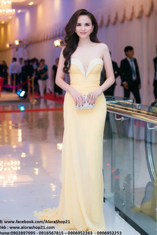 Đầm dạ hội vàng cúp ngực gợi cảm tôn dáng – D263
