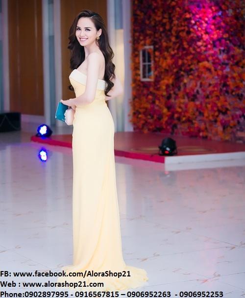 Đầm dạ hội vàng cúp ngực gợi cảm tôn dáng - D263