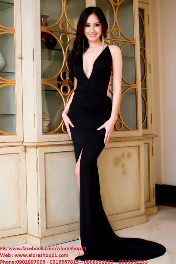 Váy dài 2 dây cắt xẻ tinh tế mà sang trọng – D265
