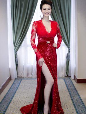 Đầm dạ hội tay ren phối chân kim sa sang trọng quyến rũ - D267