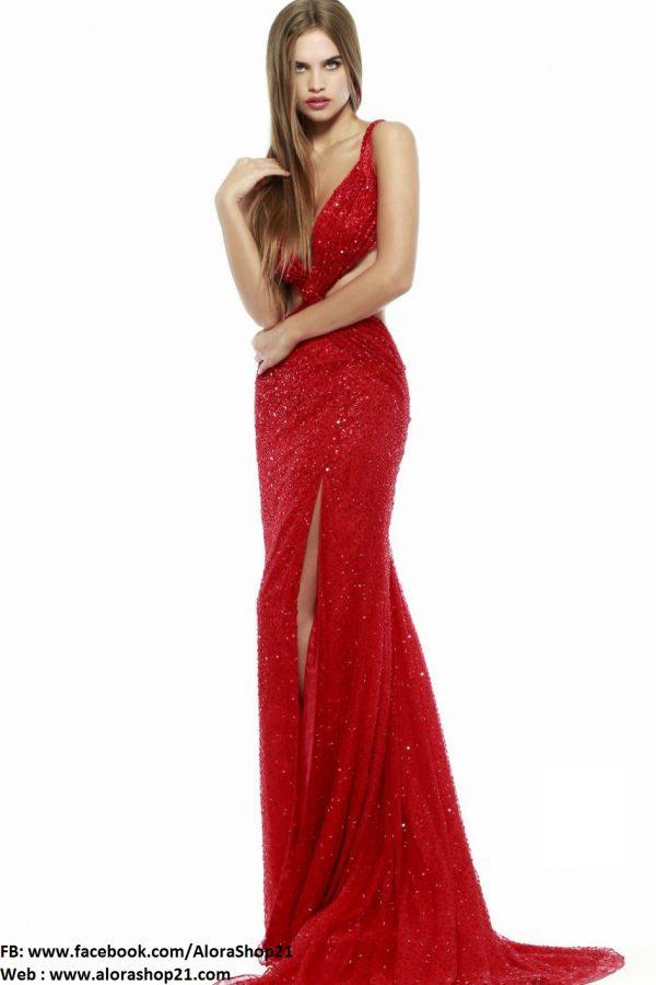 Váy dạ hội hở lưng xẻ đùi sexy tôn dáng - D271