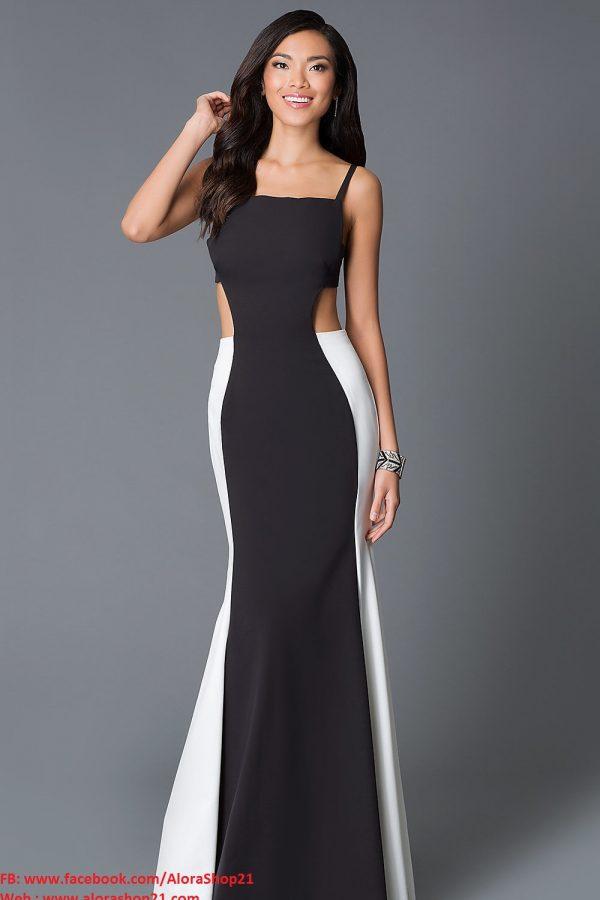 Đầm dạ hội 2 dây đen phối trắng khoét eo quyến rũ – D272