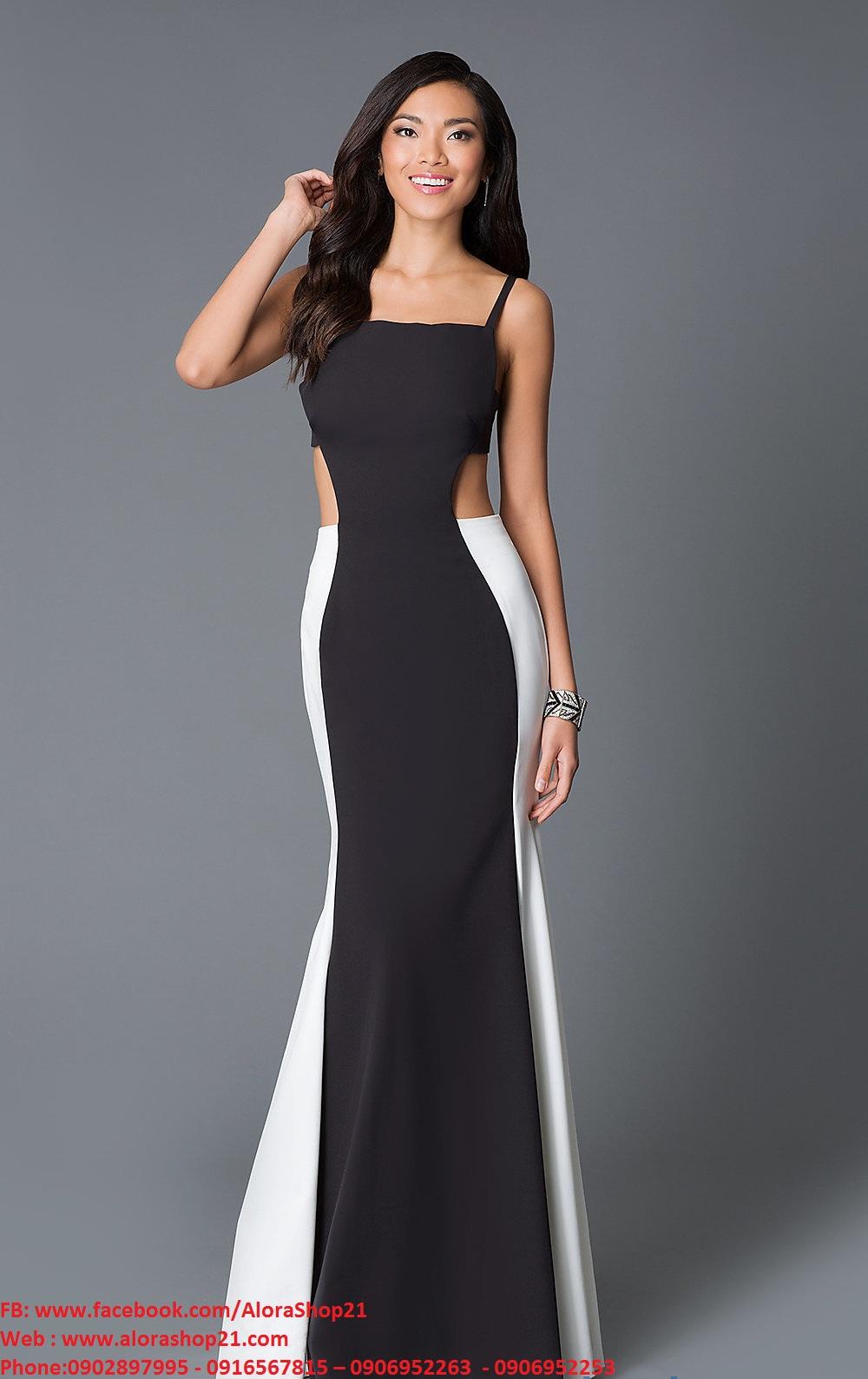 Đầm dạ hội 2 dây đen phối trắng khoét eo quyến rũ - D272