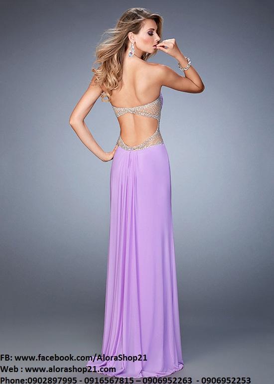 Váy dạ hội cúp ngực hở lưng phối ren quyến rũ sexy - D275