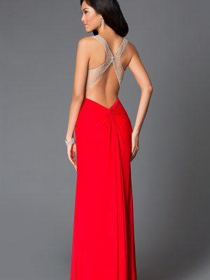 Váy dạ hội 2 dây hở lưng phối ren sành điệu - D278