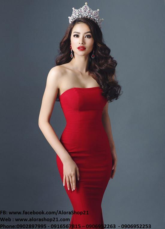 Đầm dạ hội cúp ngực đơn giản mà quyến rũ như Phạm Hương - D279