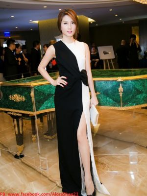 Đầm dạ hội trắng đen phối nơ eo dễ thương như Diễm My - D280