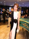 Đầm dạ hội trắng đen phối nơ eo dễ thương như Diễm My – D280